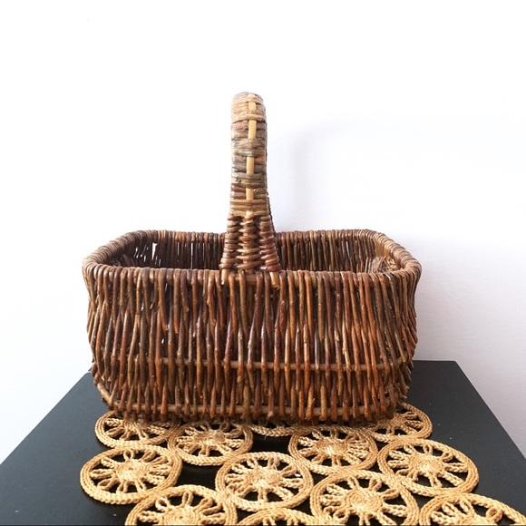 Vintage Rectangular Sturdy Wicker Woven Basket